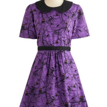 ModCloth Critters Mid-length Short Sleeves A-line Howls and Owls Dress