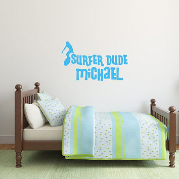 Personalized Surfer Dude Vinyl Wall Decal 22436