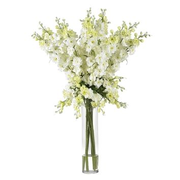 SheilaShrubs.com: White Delphinium Silk Flower Arrangement 1224-WH by Nearly Natural : Artificial Flowers & Plants