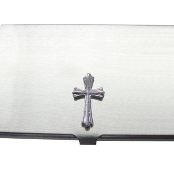 Textured Cross Business Card Holder