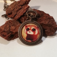 Kawaii Red Panda  Animal Pendant 24 inch Bronze Chain Jungle Theme Necklace Teenager Necklace Female or Male Necklace  Animal Theme Jewelry