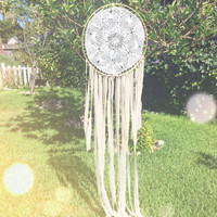 Pale Pink, White, & Gold Crochet Doily Fabric Dream Catcher