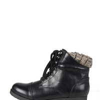 KNITTED CUFF COMBAT BOOTIES - BLACK