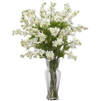SheilaShrubs.com: White Dancing Daisy Silk Flower Arrangement 1253-WH by Nearly Natural : Artificial Flowers & Plants