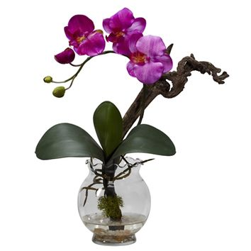 SheilaShrubs.com: Purple Mini Phalaenopsis w/Fluted Vase Silk Flower Arrangement 1277-PP by Nearly Natural : Artificial Flowers & Plants