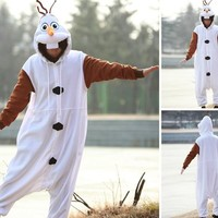 Disney Frozen Olaf Character -Adult Costumes Pajama Onesuits ( Small)