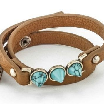 Faux Leather Turquoise Cuff