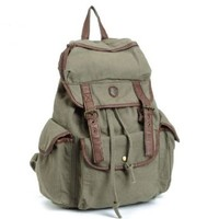 BUG Multi-function Canvas Backpack/ Practical Rucksack /Leisure Rucksack/ Unisex Backpack - 8 Colors (Army Green)
