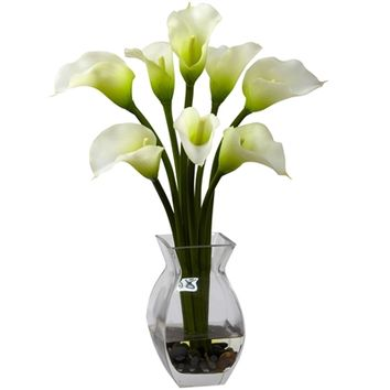 SheilaShrubs.com: Cream Classic Calla Lily Arrangement 1296-CR by Nearly Natural : Artificial Flowers & Plants