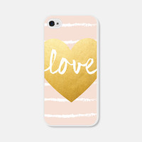Blush Gold Heart iPhone Case - Geometric iPhone 4 Case - iPhone 4s Case - Geometric iPhone 5 Case - iPhone 5s Case - Gold Peach Pink Striped