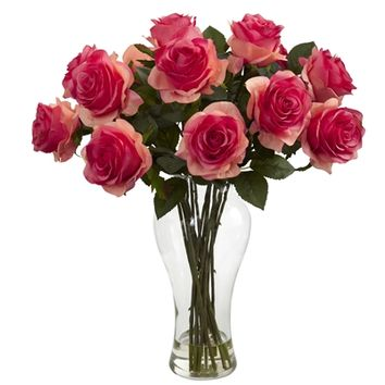 SheilaShrubs.com: Dark Pink Blooming Roses w/Vase 1328-DP by Nearly Natural : Artificial Flowers & Plants