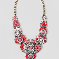 OAK LAWN JEWELED STATEMENT NECKLACE IN CORAL