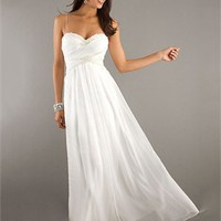 Spaghetti Straps Sweetheart Beading Floor Length White Prom Dress PD1902