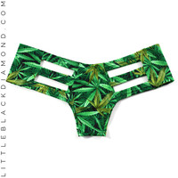 Kush Leaf Rave Booty Cutout Shorts