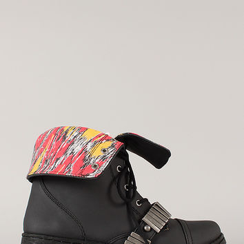 Qupid Missile-02 Tribal Print Cuff Military Lace Up Bootie
