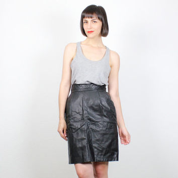 Vintage Black Leather Skirt 1980s Quilted Leather High Waisted Hot Leather Mini Skirt Tulip Skirt 80s Punk Skirt Minimalist S Small M Medium