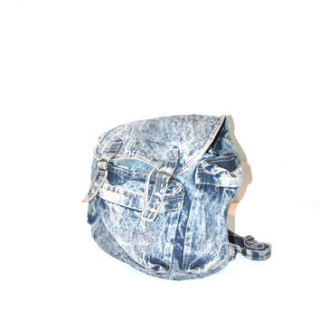 acid wash denim backpack / 80s surfer GRUNGE oversized slouchy book bag