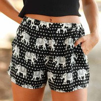 Elephant in the Room Black and White Printed Shorts