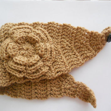 SPRING SALE!!  Crochet Headband Earwarmer in tan beige light brown Ladies size Handmade