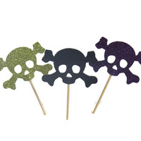 Skull Cross Bones Cupcake Toppers - Halloween Party Food Picks - Set of 12