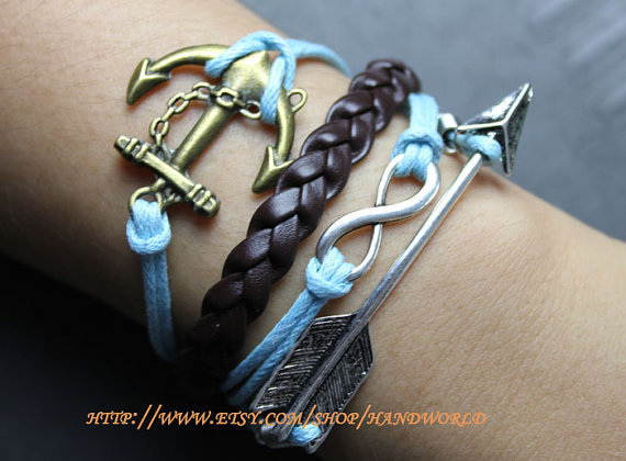bronze anchor bracelet infinity karma bracelet  by handworld