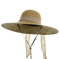 Women's Palm Straw Large Brim Hat - Natural Ribbon W35S22B