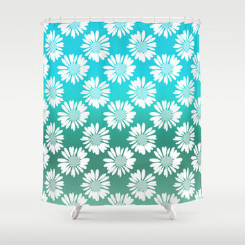 Blue Gradient Flowers Shower Curtain by Ornaart