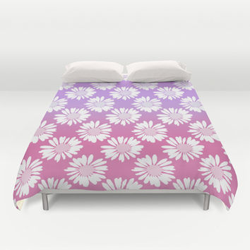 Purple Gradient Flowers Duvet Cover by Ornaart