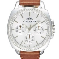 Coach 'Boyfriend' Crystal Bezel Leather Strap Watch, 42mm | Nordstrom