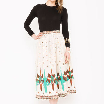 FLASH SALE . 40% OFF . Thunderbird Midi Skirt . Vintage 1970s Midi Skirt . 70s Southwestern Skirt