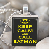 Scrabble Tile Pendant Keep Calm And Call Batman by IncrediblyHip