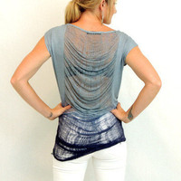 Frayed back blue ombre tshirt top- $34.00 | Daily Chic Tops | International Shipping