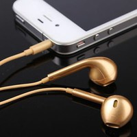 Gemswedding One pc Golden And Silver Headset Headphones Earphones Volume Remote+Mic (Gold)