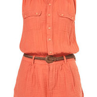 Linen Coral Sleeveless Playsuit - Rompers  - Apparel  - Topshop USA