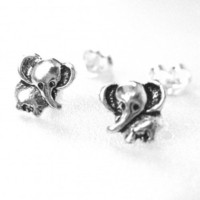 Miniature Elephant Stud Earrings - Sterling Silver | dotoly - Jewelry on ArtFire