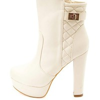 Bamboo Quilted Chunky Heel Platform Booties - Ivory