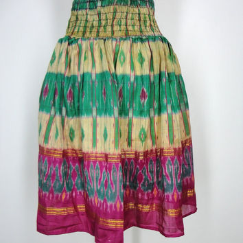 Sari Skirt / Hand Made / Vintage Indian Sari / Green Yellow Pink IKAT Print / Limited Edition / Size Large to Extra Large L XL