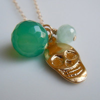 Sugar Skull Necklace with Chalcedony and Amazonite by 443Jewelry