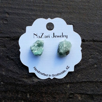 Raw Natural EMERALD STONE STUDS