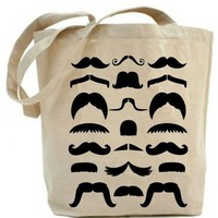Canvas tote bag Moustache Tote Bag by PaisleyMagic on Etsy