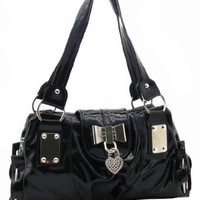 SEY Sweet Black Bow / Heart Lock PU Patent Leather Satchel Bowler Hobo Handbag Purse