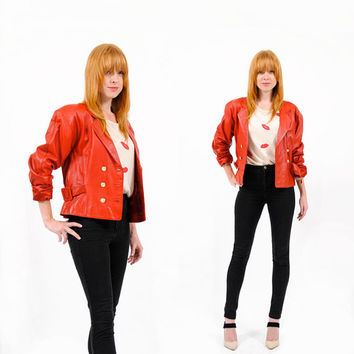 Marching Orders Jacket . Vintage 1980s Jacket . Red Leather 80s Jacket