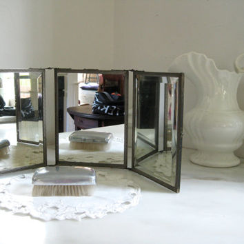 Antique triptych folding travel mirror ~ a gentleman's travel necessity