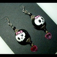 Hello Kitty Skull with a Pink Bow Dangle Earrings Gothic Punk Cute | whiteowldesigns - Jewelry on ArtFire