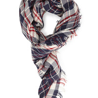 FOREVER 21 Woven Plaid Scarf Navy/Red One