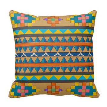 Blue Orange and Yellow Aztec Inspired Pillow