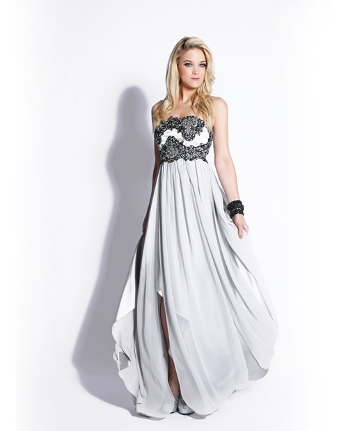 Silver & Black Embroidered Chiffon Strapless Empire Waist Prom Dress - Unique Vintage - Homecoming Dresses, Pinup & Prom Dresses.