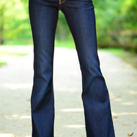 The Rachel Flare Jean, Dark Blue