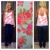 Beauty And The Rose Tank - IVORY