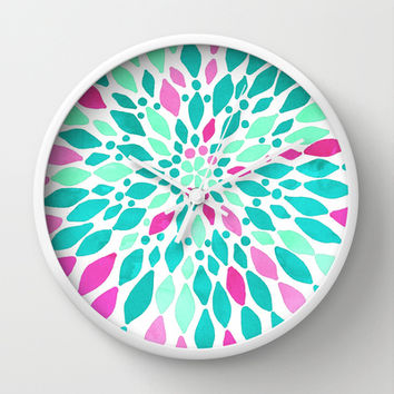 Radiant Dahlia 2 - mint, teal, magenta, pink watercolor pattern Wall Clock by Tangerine-Tane | Society6